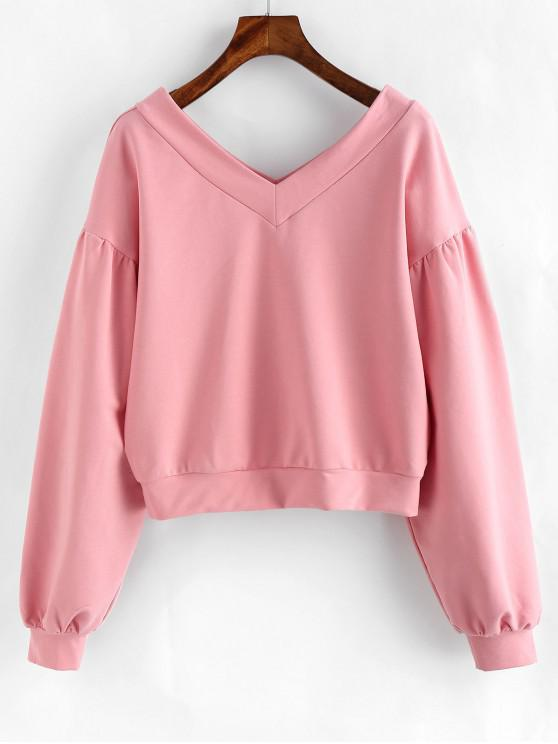 sale ZAFUL V Neck Drop Shoulder Pullover Sweatshirt - PINK XL