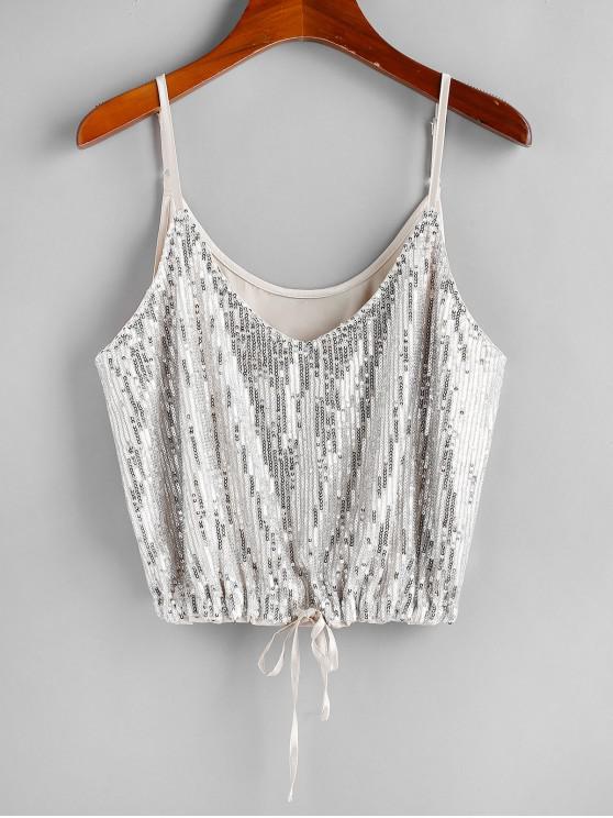 trendy ZAFUL Sequins Drawstring-hem Cami Top - CHAMPAGNE L