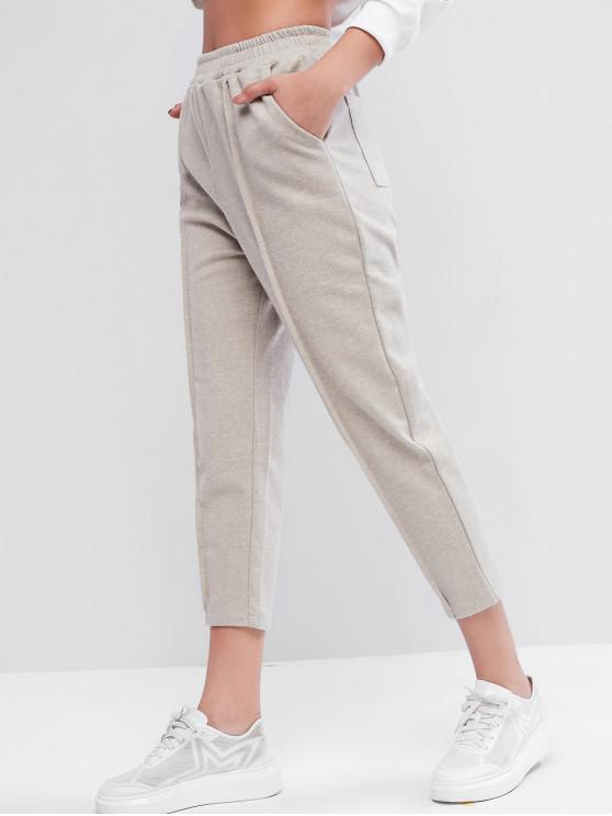 outfit Pocket High Waisted Peg Leg Pants - CRYSTAL CREAM M