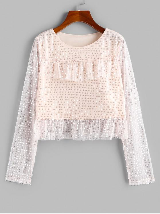 womens ZAFUL Disc Sequined Ruffle Lace Insert Blouse - APRICOT S