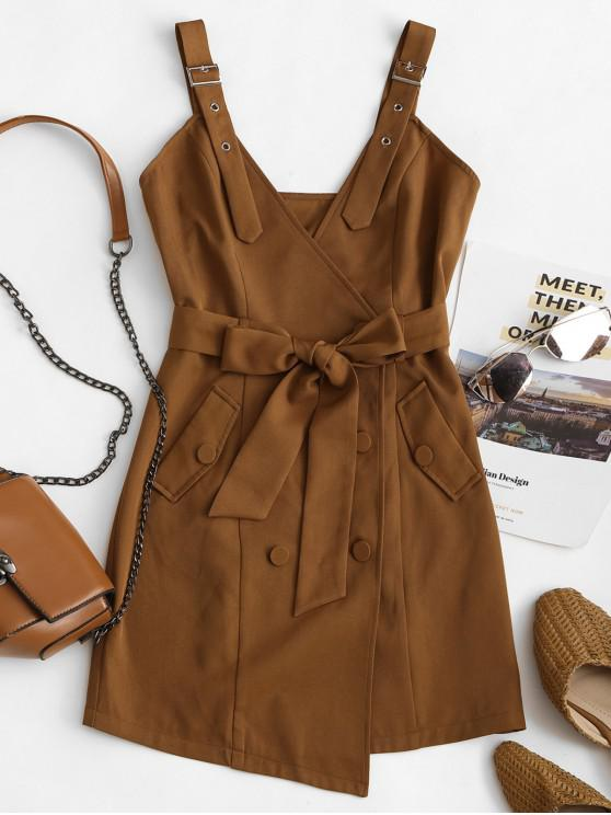 fashion ZAFUL Belted Buckle Double Breasted Mini Dress - COFFEE M