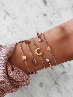 5Pcs Herz Mond Strass-Armbänder Set - Golden