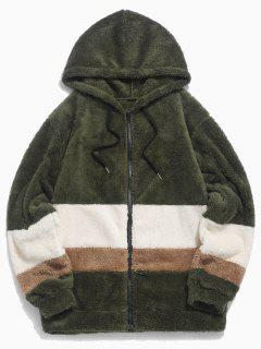 Colorblock Splicing Faux Fur Fluffy Hooded Jacket - Army Green 2xl