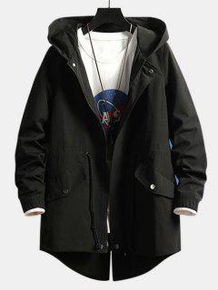 Manteau à Capuche Fendu Au Dos Haut Bas En Couleur Unie - Noir M