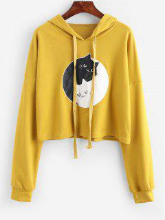 ZAFUL Funny Cat Graphic Drop Shoulder Pullover Hoodie - Golden Brown M