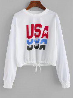ZAFUL Sweatshirt Graphique USAOurletà Cordon - Blanc S
