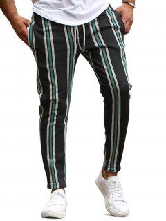 Vertical Striped Lounge Pencil Pants - Green Xs