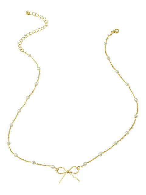 Искусственный жемчуг С бантом Ожерелье - Золотой  Mobile
