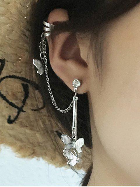 fancy Butterfly Chain Dangle Ear Cuff - SILVER  Mobile
