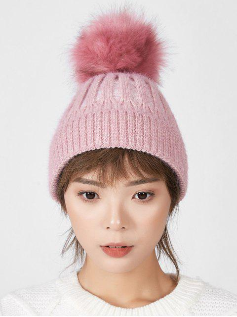 fancy Striped Winter Solid Fuzzy Ball Knitted Hat - PINK  Mobile