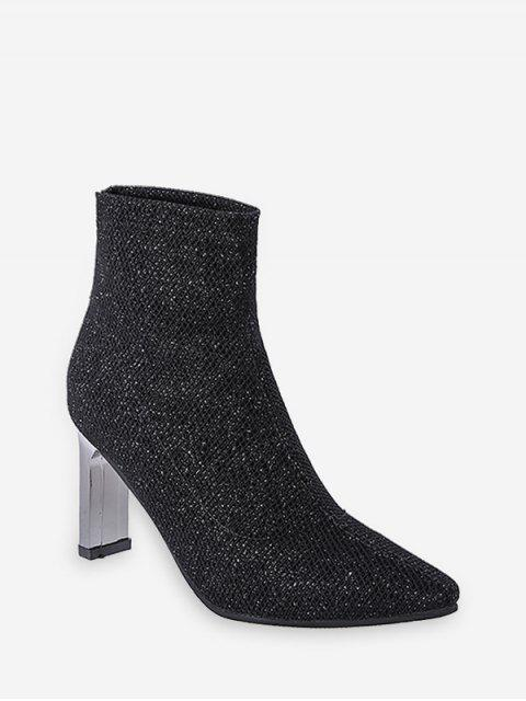 fancy Glitter Pointed Toe Chunky Heel Boots - BLACK EU 35 Mobile