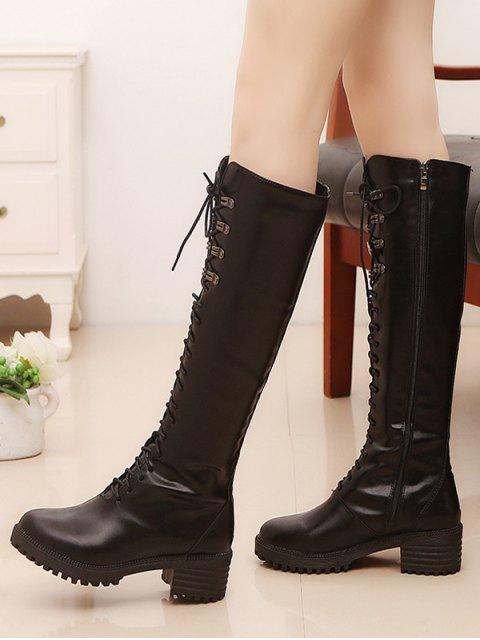women Platform Chunky Heel Lace Up Knee High Boots - BLACK EU 37 Mobile