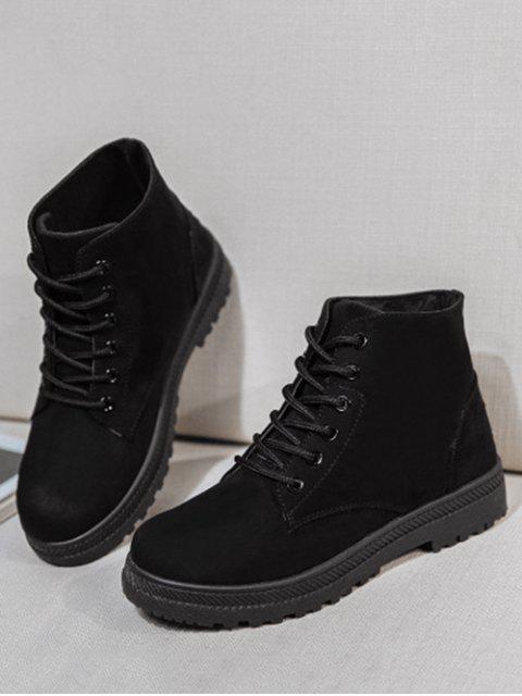 chic Low Platform Lace Up Ankle Boots - BLACK EU 38 Mobile
