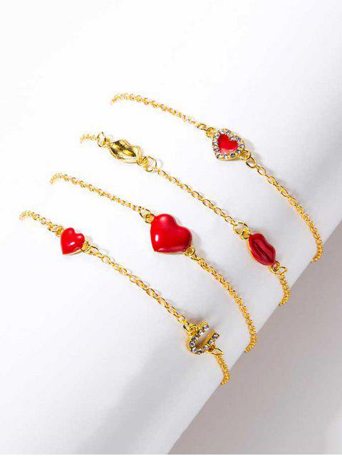outfits 4Pcs Heart Lip Rhinestone Bracelet Set - GOLD  Mobile