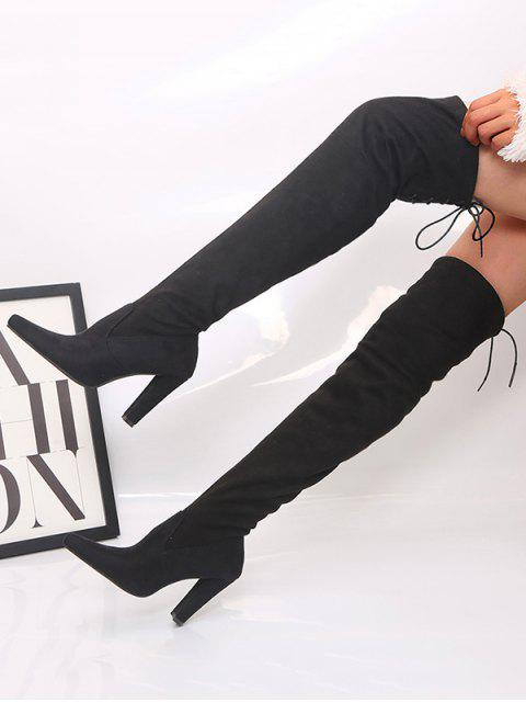 shop Plain Pointed Toe High Heel Thigh High Boots - BLACK EU 42 Mobile