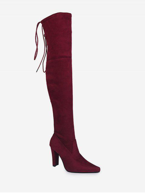 women's Plain Pointed Toe High Heel Thigh High Boots - RED WINE EU 36 Mobile