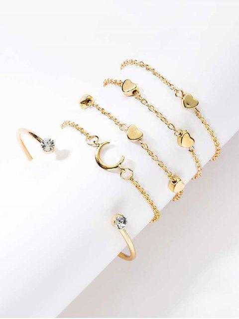 women's 5Pcs Heart Moon Rhinestone Bracelets Set - GOLD  Mobile
