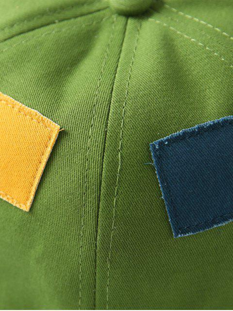 trendy Square Patchwork Button Bucket Hat - GREEN  Mobile