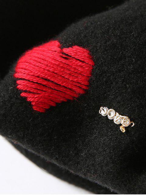 sale Heart Rhinestone Painter Beret Hat - BLACK  Mobile