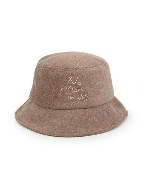trendy Thick Character Pattern Winter Bucket Hat - KHAKI  Mobile