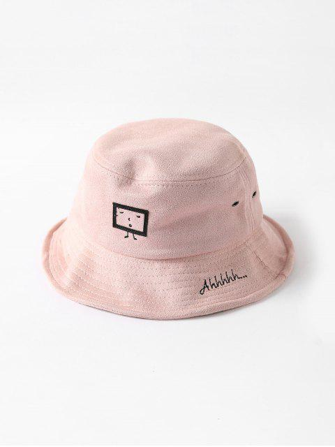 sale Embroidered Cartoon Print Bucket Hat - PINK  Mobile