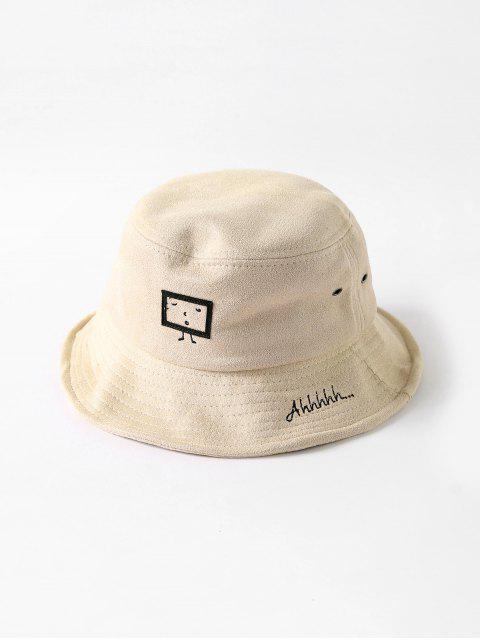 ladies Embroidered Cartoon Print Bucket Hat - BEIGE  Mobile