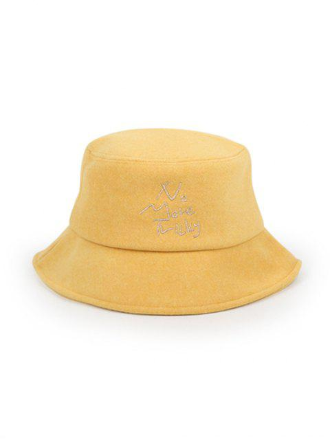 online Thick Character Pattern Winter Bucket Hat - YELLOW  Mobile