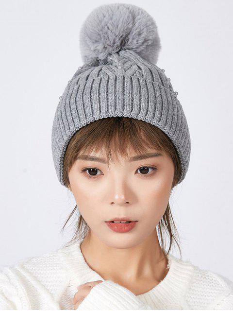 outfits Fuzzy Ball Winter Knitted Solid Pearl Hat - GRAY  Mobile