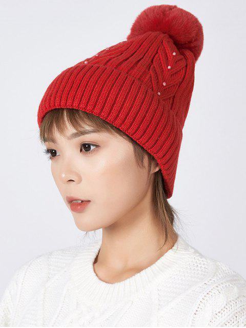 online Fuzzy Ball Winter Knitted Solid Pearl Hat - RED  Mobile