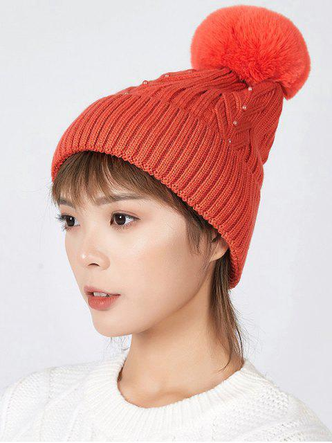 fancy Fuzzy Ball Winter Knitted Solid Pearl Hat - TANGERINE  Mobile