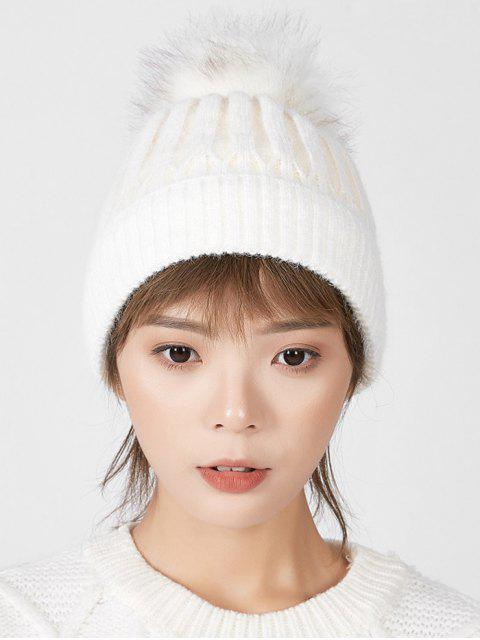 sale Striped Winter Solid Fuzzy Ball Knitted Hat - WHITE  Mobile