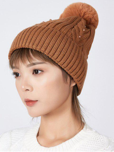 hot Fuzzy Ball Winter Knitted Solid Pearl Hat - CARAMEL  Mobile