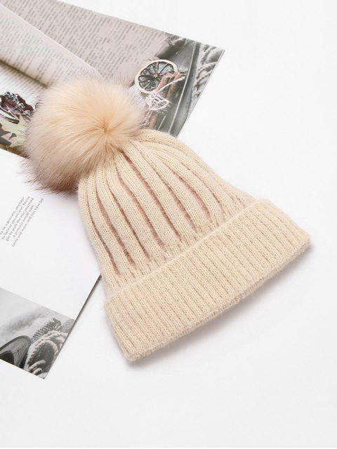 fancy Striped Winter Solid Fuzzy Ball Knitted Hat - BEIGE  Mobile