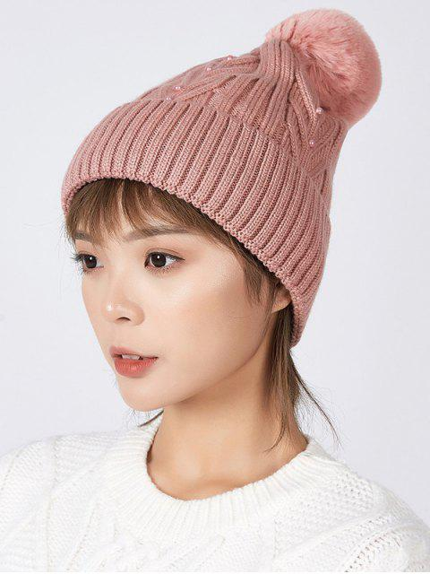 best Fuzzy Ball Winter Knitted Solid Pearl Hat - LIGHT CORAL  Mobile
