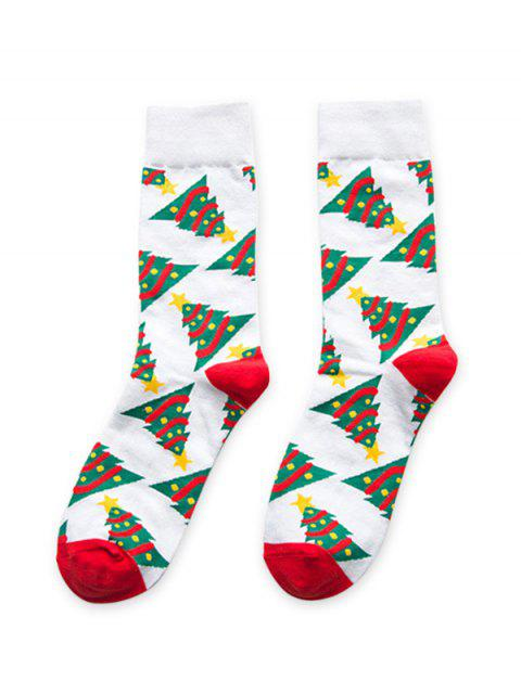 outfit Candy Christmas Tree Pattern Quarter Length Socks - WHITE  Mobile