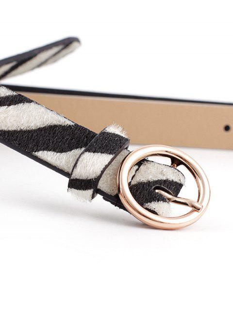 Круглая пряжка Принт зебры Пояс - Блестящий чёрный цвет   Mobile