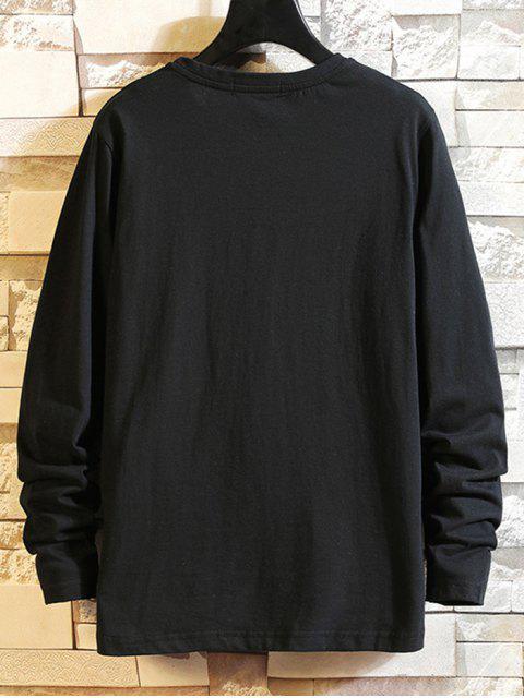 Carta Estampado casual manga larga camiseta - Negro XL Mobile