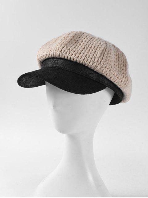 womens Patchwork Braid Knitted Cap - BEIGE  Mobile
