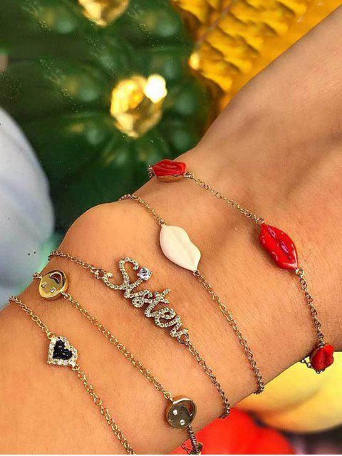 shops 5Pcs Lips Heart Letter Bracelet Set - GOLD  Mobile