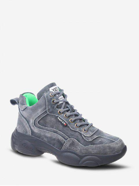latest Retro Lace Up Mid Top Dad Sneakers - GRAY EU 37 Mobile