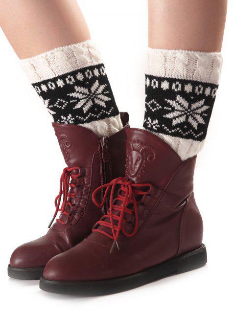 hot Christmas Geometric Pattern Sleeve Socks - WHITE  Mobile