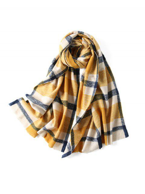 women's Plaid Winter Knitted Long Scarf - YELLOW  Mobile