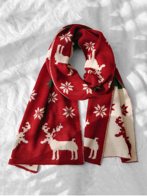 Echarpe Cerf de Noël et Flocon de Neige - Rouge Vineux  Mobile
