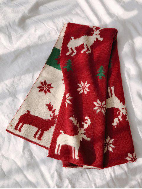 Рождественский принт оленя и снежинки Шарф - Красное вино  Mobile