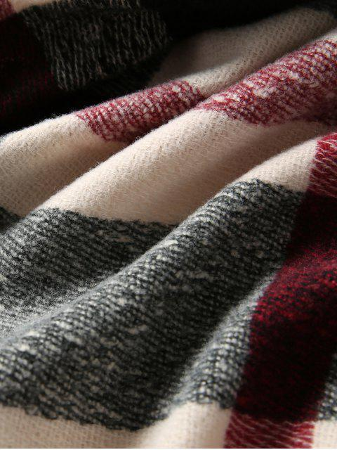 outfits Plaid Winter Knitted Long Scarf - BLACK  Mobile