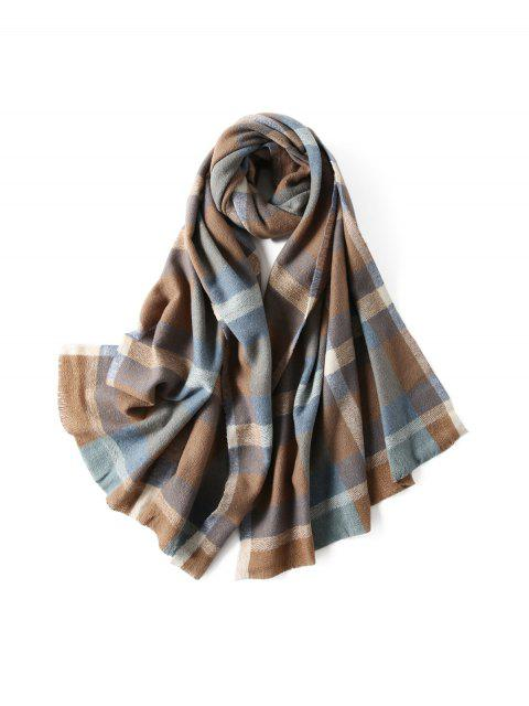 buy Plaid Winter Knitted Long Scarf - BLUE GRAY  Mobile