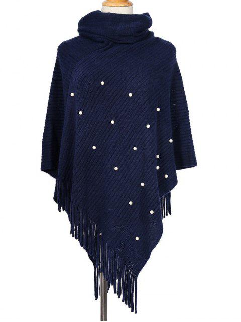 shops Faux Pearl Fringe High Collar Cape - CADETBLUE  Mobile