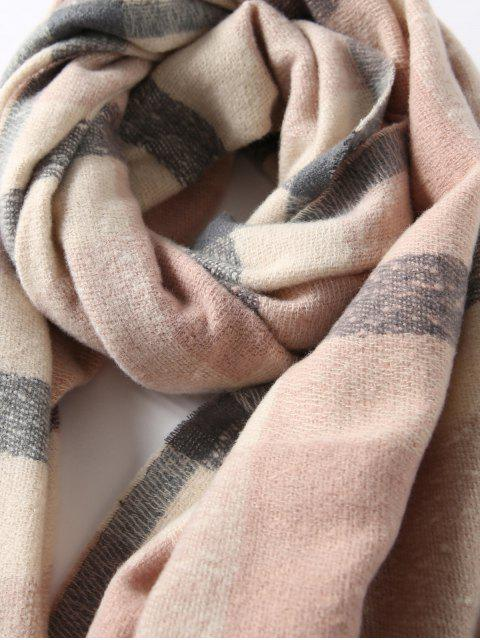 shop Plaid Winter Knitted Long Scarf - PINK  Mobile