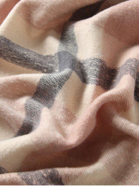 Echarpe d'Hiver Longue Tricoté à Carreaux - Rose   Mobile