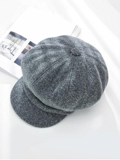 lady Peaked Solid Winter Octagonal Beret Hat - GRAY  Mobile